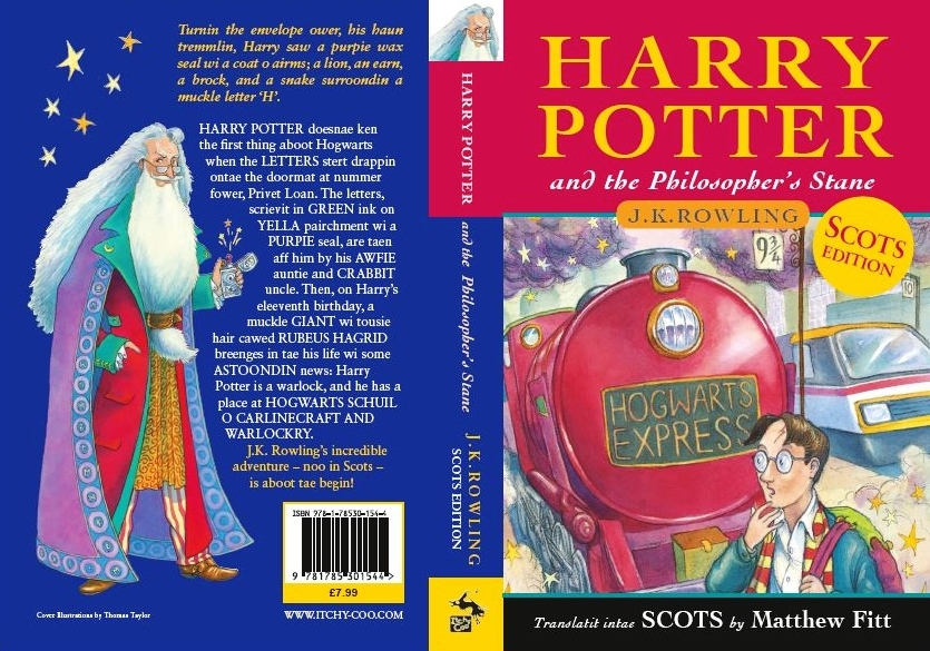 Harry Potter Book Back Cover : Harry potter in scots itchy coo