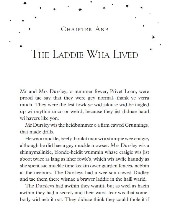 Harry Potter Book Excerpt : Harry potter in scots itchy coo
