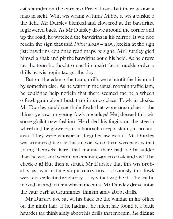 Harry Potter Book Extract : Harry potter in scots itchy coo